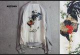 アルチザン最高級 伊藤若冲 鶏 刺繍 スーベニア キュプラ ブルゾン/スカジャン/ARTISAN