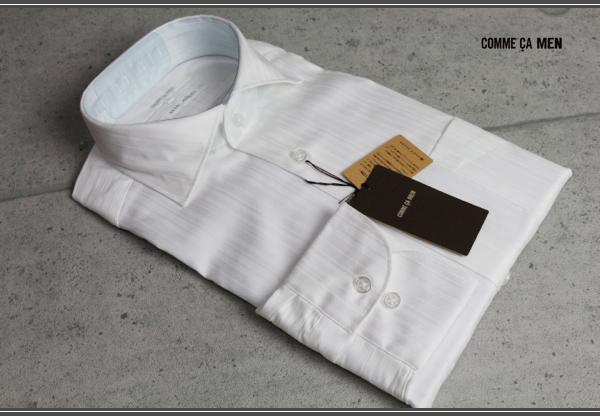 画像1: コムサメン新作ストライプ長袖ドレスシャツ/ワイド/COMME CA MEN
