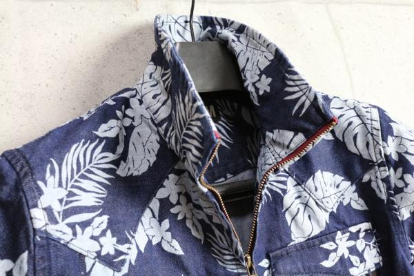 画像2: PPFM花柄デニムWジップ半袖シャツ/ペイトンプレイス