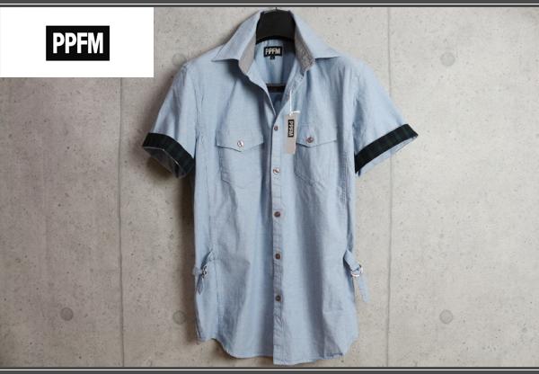 画像1: PPFMシャンブレーコットンデザイン半袖シャツ/ペイトンプレイス