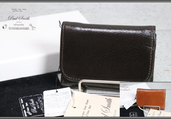 画像1: ポールスミス レッドイヤー本革コンパクト三つ折り財布