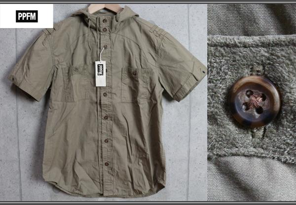 画像1: PPFMペイトンプレイス/ミリタリー半袖パーカーシャツ