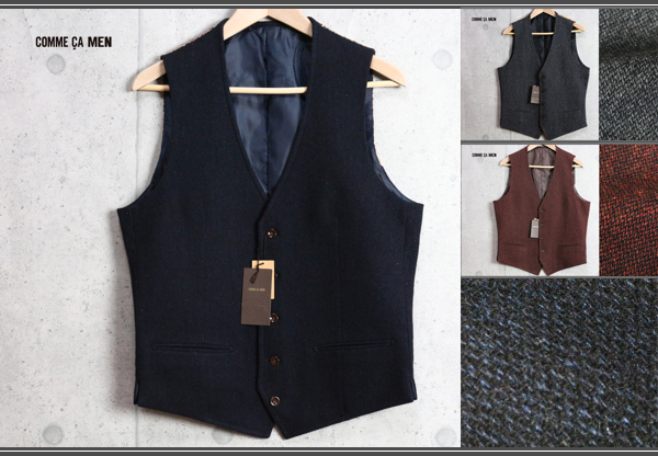 画像1: コムサメン最高級裏ペイズリー手織りツイードジレ/COMME CA MEN