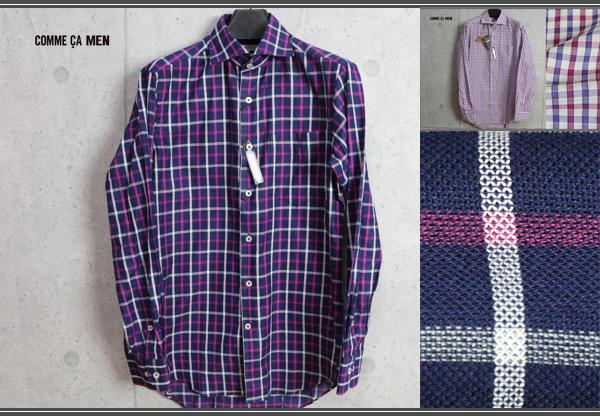 画像1: コムサメン春夏カラミ織りチェックドレスシャツ/COMME CA MEN