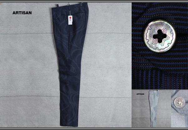 画像1: 新品アルチザン ジャポニカ最高級西陣織スラックスL紺5.4万/ARTISAN