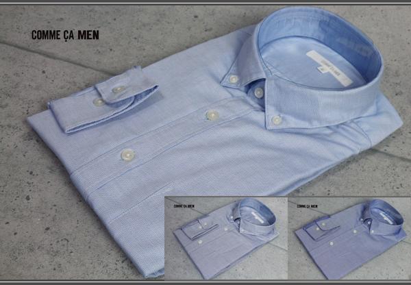 画像1: コムサメン鹿の子ボタンダウン長袖ドレスシャツ/綿/コットン/COMME CA MEN