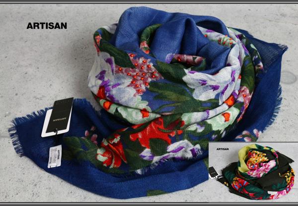 画像1: アルチザン刺繍ビーズ ウール シルク ストール/絹/スカーフ/スカーフ/ARTISAN