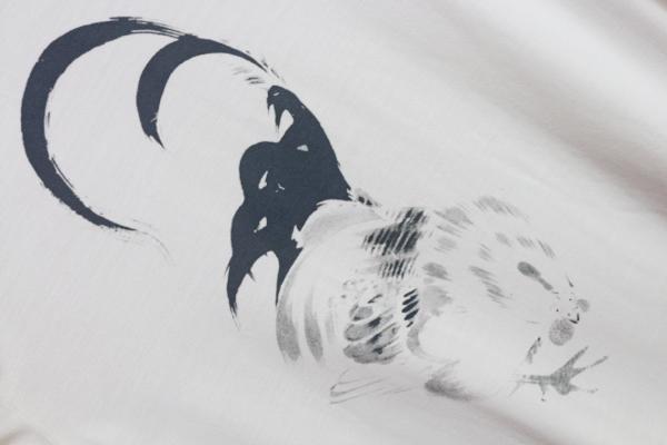 画像2: アルチザン最高級 シルク 伊藤若冲 特殊プリント 浮世絵 Tシャツ/墨鶏/和柄/ARTISAN/絹