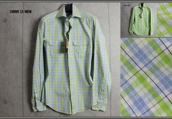 画像1: コムサメン ダブル オーバー チェック ホリゾンタルカラー 長袖 シャツ/COMME CA MEN