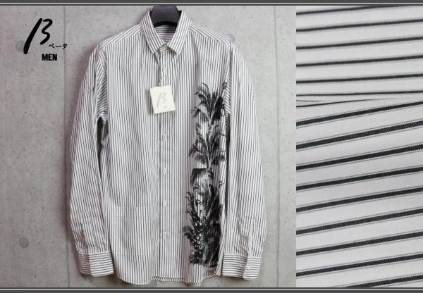 画像1: ベータ・メン/β MEN 春夏 ストライプ プリント 長袖 シャツ/綿
