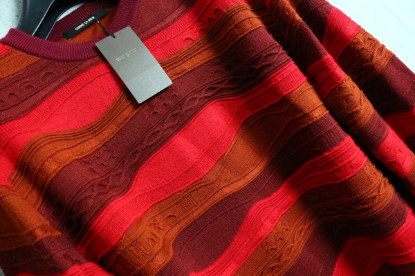 画像2: コムサメン中厚手ウール混 ニット ボーダー レイヤード立体デザイン セーター/COMME CA MEN