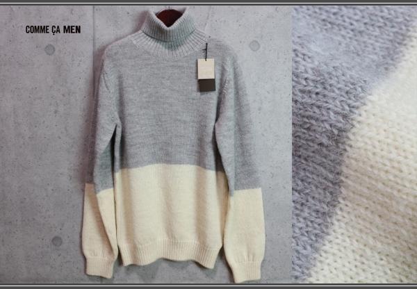 画像1: コムサメン プラチナモデル ミドルゲージ ウール100% タートルネック セーター/COMME CA MEN