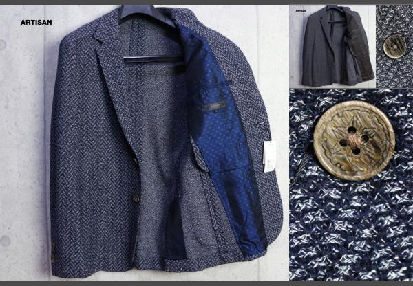 画像1: アルチザン 春夏 日本製 ジャガード織 コットン ニット ジャケット/ARTISAN MEN