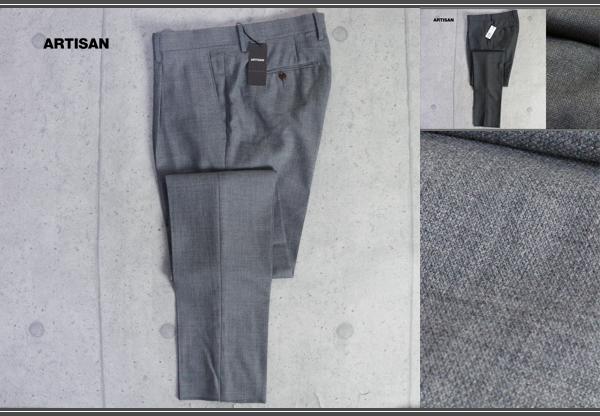 画像1: アルチザン 春夏 日本製 ウール ホップサック ワンタック ストレッチ スラックス/ARTISAN MEN/ボトムス/パンツ