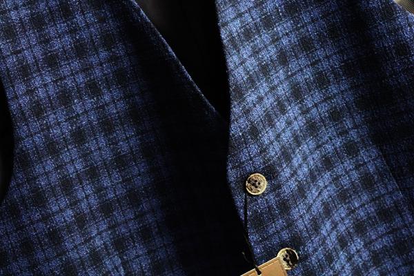 画像2: アルチザン 春夏 最高級 日本製 水牛牡丹 清涼 サマー ツイード ストレッチ ジレ/綿/毛/ベスト/ARTISAN